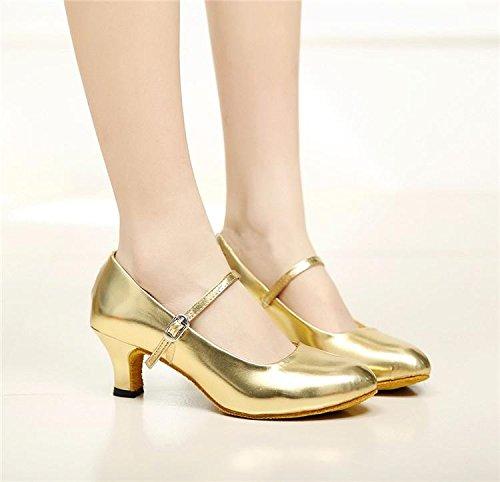 Latin Ballroom Heel Gaorui Heeled Salsa Dance Tango Women Shoes Gold Mary Low Shoes Glitter Dancewear Jane q85Rz8x4w