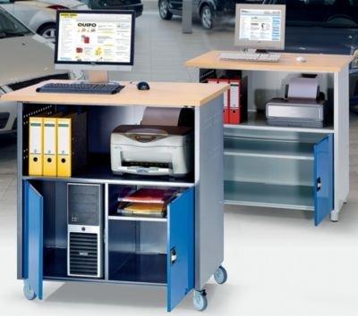 RAU PC-Tisch - mit durchgehendem Fachboden, mit Fahrsatz lichtgrau RAL 7035 / enzianblau RAL 5010 - Arbeitspult Computerschrank Computerstation Computertisch Computertische EDV-Arbeitsplatz EDV-Möbel EDV-Schrank Monitortisch Monitortische PC-Schrank