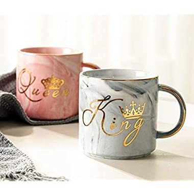 Luspan King and Queen Couples Coffee Mugs - Unique Valentine's Day Gifts For Him and Her - Anniversary Present For Husband and Wife - Wedding Gift For Bride and Groom - Ceramic Marble Cups 13 oz