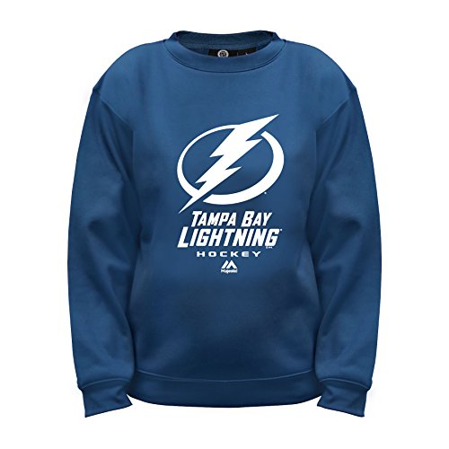 NHL Tampa Bay Lightning Long Sleeve Fleece Crew Neck Top, Large, Cobalt Blue