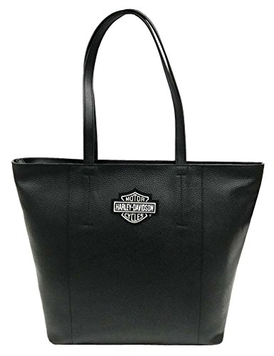 Harley-Davidson Women's Bar & Shield Travel Leather Tote Bag, Black - Davidson Bags Leather Harley
