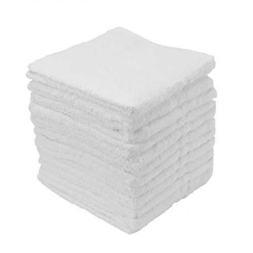 100PC Terry Cloth 100% Cotton Cleaning Towels Shop Bar Rags White 12