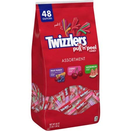 Twizzlers Pull 'n' Peel Assorted Chewy Candy, Fruit punch, Cherry, Watermelon 48.4 Oz.]()