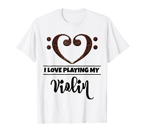 Double Bass Clef Heart I Love Playing My Violin T-Shirt