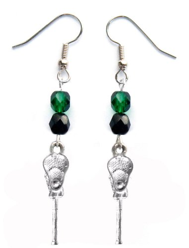 ''Lacrosse Stick & Ball'' Lacrosse Earrings (Team Colors Forest Green & Black) by Edge Sports