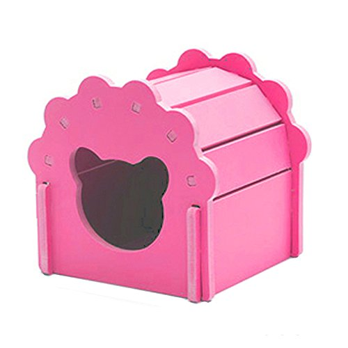 Petzilla Cute Hamster Hideout Hut Sand Bath for Small Animals, Made of Safe Balsa Wood - Hamster Wood Hut