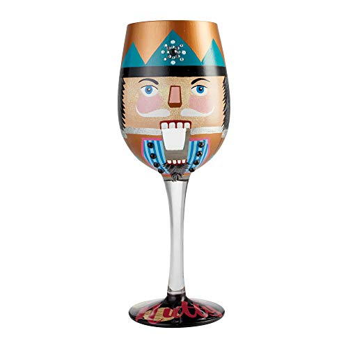 Enesco 6004436 Designs by Lolita Let's Be Nutty Hand-Painted Artisan Wine Glass 15 Ounce Multicolor for $<!--$27.99-->