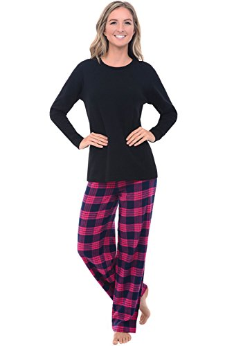 Plaid Flannel Pajama Top (Alexander Del Rossa Womens Flannel Pajamas, Knit Top Cotton Pj Set, Medium Classic Pink Plaid (A0700Q25MD))