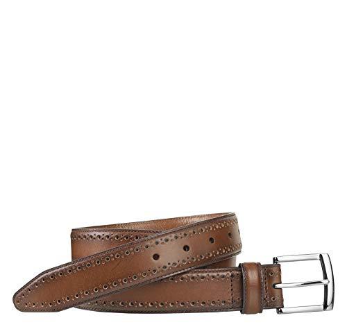 Johnston & Murphy Men's Perfed-Edge Belt Tan 34 US (Johnston Belt Murphy Buckle Mens And)