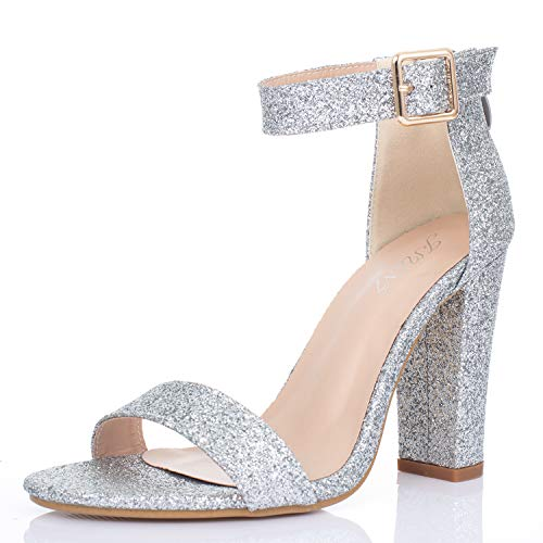 (JSUN7 Women's Chunky High Heel Sandals 1920s Gatsby Sparkling Extra Wide Ankle Strap with Buckle Open Toe Fashion Dress Party Wedding Shoes for Women)