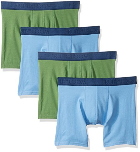 Fruit of the Loom Men's Cotton Stretch (Pack of 4), Assorted Boxer Brief, Large