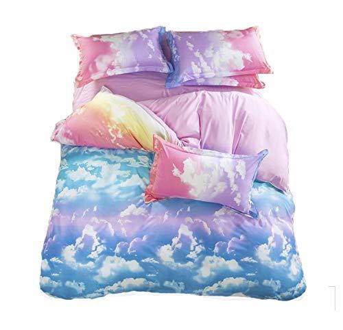 (LemonTree 3D Girls Comfortable Rainbow Sky Clouds Printing Bedding Sets 4pcs Queen)