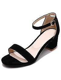 Alnice Women's Plus Size Summer Ankle Strap Low Block Sandals Heels Shoes