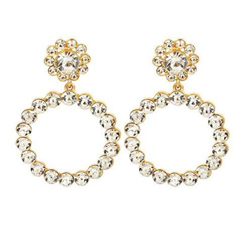 SERAKI Fashion Women Crystal Large Hoop Circle Lady Luxury Drop Dangle Earrings Jewelry (Crystal - Gold)