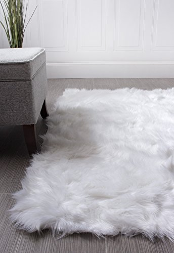 Serene Super Soft Faux Sheepskin Shag Silky Rug Baby Nursery Childrens Room Rug Ivory White, 2' x 3' (For Rug White Nursery)