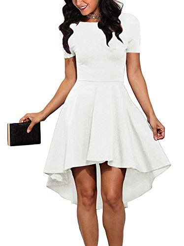 REORIA Women Womens Scoop Neck Short Sleeve High Low Cocktail Party Skater Dress Off White 2X-Large