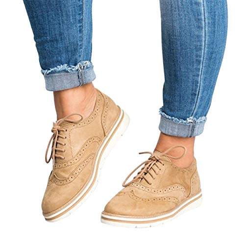 Lace Oxford Up Pump Shoes (Susanny Womens Wingtip Oxfords Sweet Platform Brogues Lace Up Slip on Perforated Autumn Shoes)