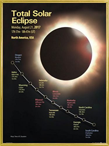 Price comparison product image Eclipse Of The Sun Poster Art Print and Frame (Plastic) - Total Solar Eclipse,  August 21st 2017