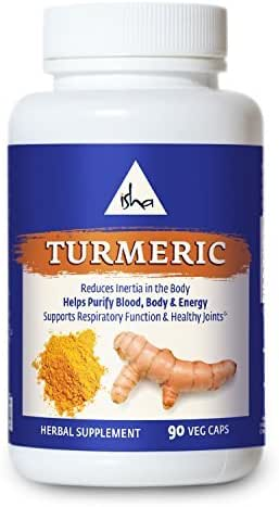 Isha Organic Turmeric Curcumin Supplement — Natural Ayurvedic Herbal Cleanser and Purifier - Enhances The Energy Body to Reduce Inflammation and Pain and Improve Immunity. 90 Vegetarian Capsules, 500