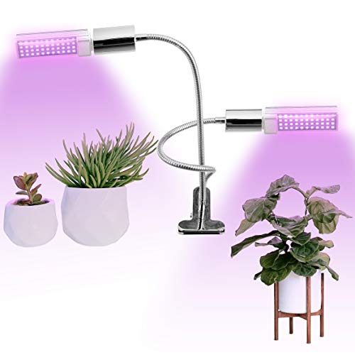 Full Spectrum LED Grow Light for Indoor Plants, 45W Dual Head Plant Lamp with Adjustable Gooseneck and Rotatable Bulb, Grow Lamp for Indoor Garden, Flowers, Vegetables, Bonsai Tree, Succulent