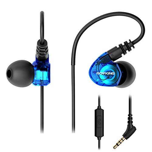 (ROVKING Wired Over Ear Sport Earbuds, Sweatproof in Ear Headphones for Running Gym Workout Exercise Jogging, Noise Isolating Earhook Earphones Ear Buds with Mic for Cell Phones MP3 Laptop, Blue )