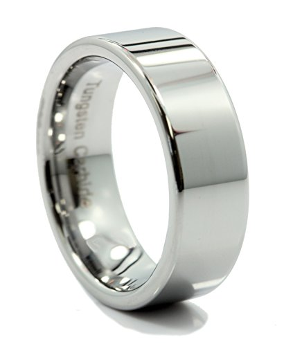 8 Mm Pipe (MJ 8mm Flat Pipe Cut Tungsten Carbide Wedding Band Mirror Polished Ring Size 10)