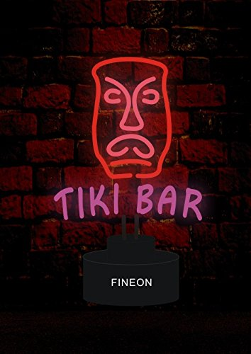 Tiki Bar Handicrafted Real Glass Tube Neon Sculpture with PLASTIC BASE as A4 size for Beer Bar Pub Garage Room (Bar Neon Sculpture)