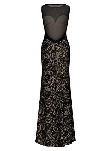 Miusol Womens Sleeveless Long Black Lace Split Side Evening Formal Dress