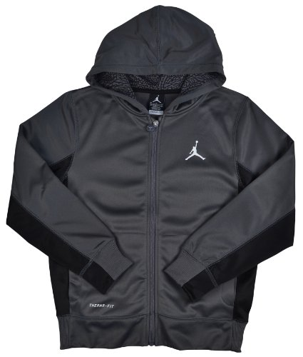 Boy's Nike Jordan Air Therma-Fit Jumpman Full Zip Hoodie Grey/Black 951373-176 (L)