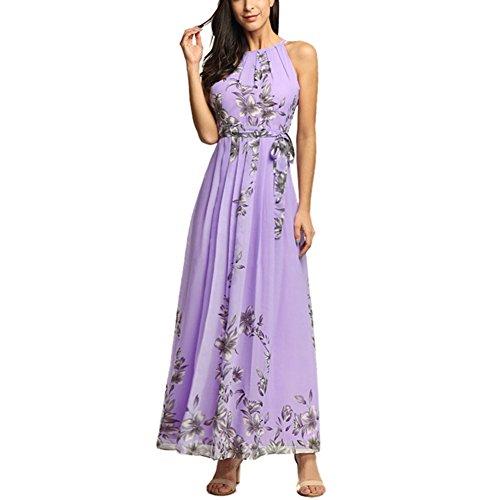 Afoxsos Women Floral Print Plus Size Maxi Dress Bohemia Halter Neck Chiffon Casual Dress Lavender -