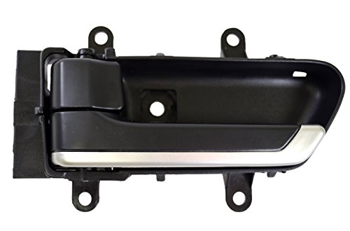 PT Auto Warehouse NI-2907A-LH - Inside Interior Inner Door Handle, Black Housing with Silver Insert Lever - Driver Side