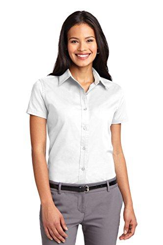 Port Authority Women's Ladies Short Sleeve S White/Light Stone