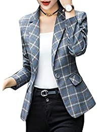Macondoo-CA Womens Classic Fit Plaid One Button Work Blazer Jacket Suit Coat