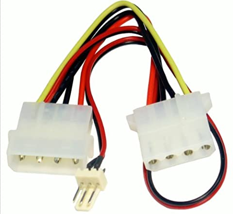 kenable Power Converter Cable 4 pin LP4 Molex Female to 3 pin Fan Adapter (4 Pin Peripheral Connector)