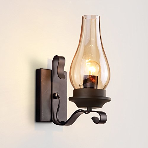 Metal Rustic Sconce (Lovedima Vintage Rustic Single light Metal Wall Sconce with Glass Chimney Shade)