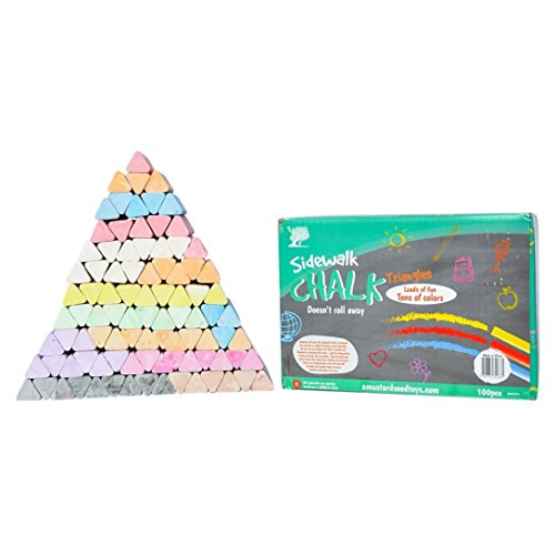 Non-Toxic Jumbo Sidewalk Chalk - 100 Triangular Pieces, Won't Roll Out of Reach or Towards the Road, Works Well On Chalkboard Paint, Concrete, Asphalt and More
