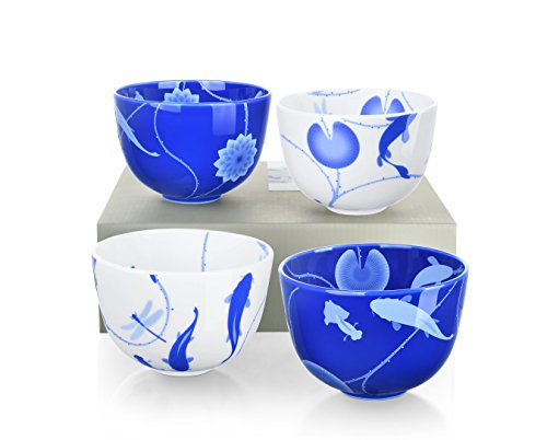 ZENS lifestyle Bowls Rice Soup Bone China Porcelain Blue and White 16 OZ 480ML Lotus and Fish Pattern Tabletop Set of 4 Continuing Pattern Bone China Rice Bowl
