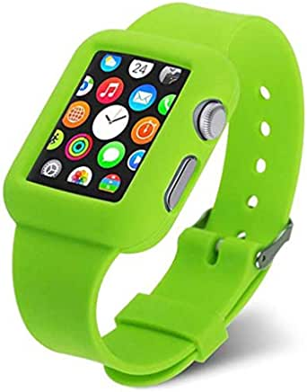 For Apple Watch 38mm - Replacement Colorful Silicone Soft Band Wristband Bracelet Strap - Green