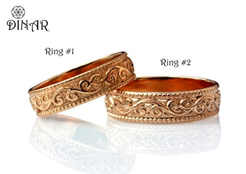 (Matching wedding band ring set 14k solid rose white yellow gold scrolling leafs art deco pattern milgrain edge engraved men and women scrolls leaf bands WB066)