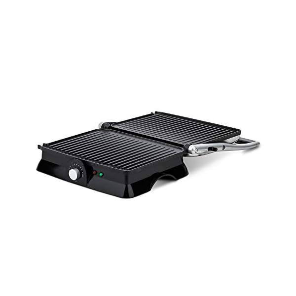 H.Koenig GR20 Bistecchiera/Panini Maker/Grill, Superficie di cottura 29,7x23cm, Acciaio Inox, 2000W 4