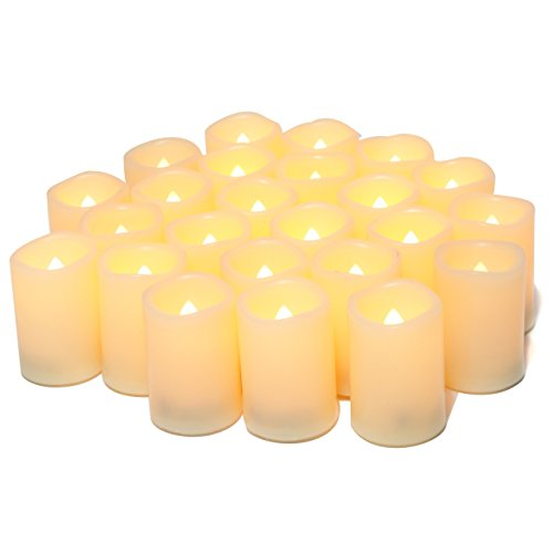 Flameless Flickering Votive Tea Lights Candles Bulk Battery Operated Set of 24 Fake Candles/Flickering Tealights LED Candle for Garden Wedding,Party, Christmas Decorations etc (Batteries Included)]()
