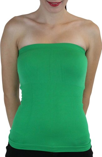 (ToBeInStyle Women's Seamless Bandeau Tube Top Ribbed Without Pad - Green - One Size)