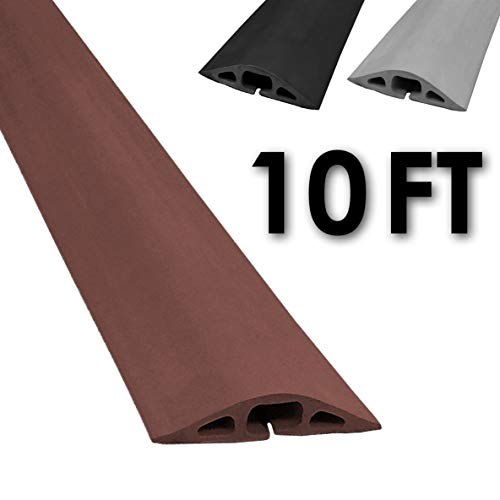 (Electriduct D-2 Rubber Duct Cord Cover - 10 Feet Brown Floor Cable Protector)