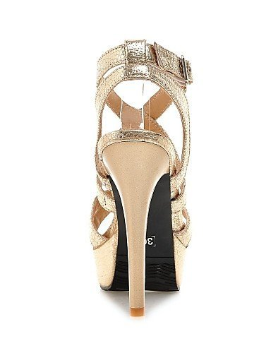 ShangYi Women's Shoes Leatherette Stiletto Heel Heels Sandals Casual Black / Silver / Gold golden sS1W5EM