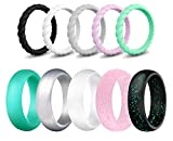 SkullParty Silicone Wedding Ring Bands for Women 10 Pack Size 6.5-7 Womens Thin Stackable & Flash Powder Rubber Wedding Band Rings 5.7mm & 3mm Wide - Pink Black Teal Metallic White Grey Mint Green