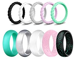 SkullParty Silicone Wedding Ring Bands f...