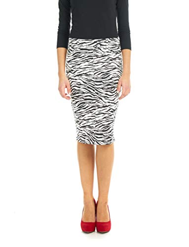 Esteez Women's Denim Pencil Skirt Stretch Jean Knee Length Brooklyn Zebra 10