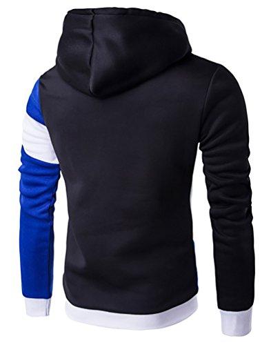 Contrasto Camicia Maglione Cappuccio Colore Di Youpue Con Casual Black Felpa Sapphire Uomo 5HAqS8wW6