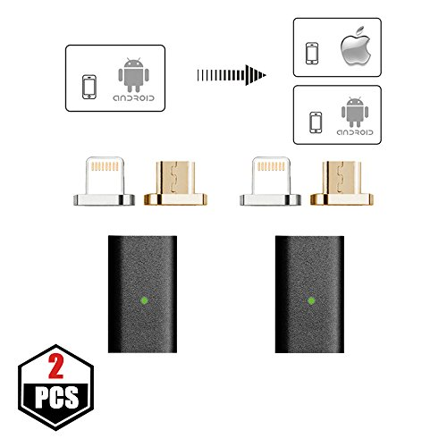 NetDot 5th Generation Micro USB to Magnetic Micro USB & Lightning Adapter for iPhone & Android Device - Adapter/2 Pack Black