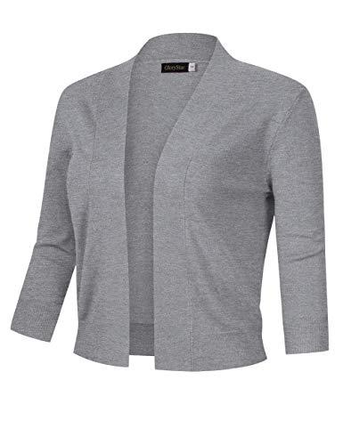 GloryStar Women's 3/4 Sleeve Open Front Cropped Cardigan Sweater Lightweight Knit Short Shrugs (L, Grey)